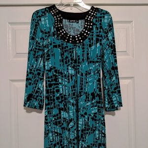 Apt 9 Teal Graphic Print Shift Dress, Size M